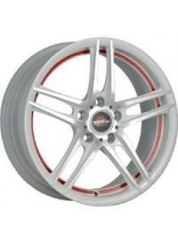 """Диск колёсный литой """"Forged-502 6.5x16, 5x105, ET39, D56.6, белый полностью полированный с красной полосой по ободу внутри (WFRS"""