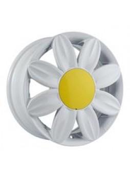"""Диск колёсный литой """"ML521 6x15, 4x100, ET38, D73.1, белый с жёлтой центральной вставкой (W)"""""""