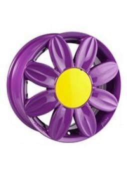 """Диск колёсный литой """"ML521 6x15, 4x100, ET38, D73.1, лиловый с жёлтой центральной вставкой (Z)"""""""
