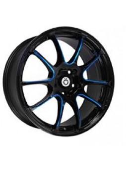 """Диск колёсный литой """"S888 7x17, 5x100, ET45, D56.1, черный глянец, частично синий (GBQPR)"""""""