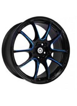 """Диск колёсный литой """"S888 7x17, 5x108, ET45, D63.4, черный глянец, частично синий (GBQPB)"""""""