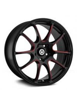 """Диск колёсный литой """"S888 7x17, 5x114,3, ET45, D73.1, черный, по лучам частично красный (GBQPR)"""""""