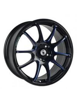 """Диск колёсный литой """"S888 7x17, 5x105, ET42, D56.6, черный, по лучам частично синий (GBQPB)"""""""